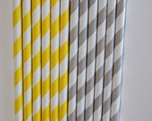150 Lt. Grey Yellow Striped Paper Straws birthday party , wedding, bridal shower, event, cake pop sticks bonus diy straw flags