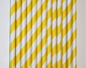 100 Yellow Striped Paper Straws birthday party , wedding, bridal shower, event, cake pop sticks bonus diy straw flags