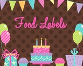DIY Printable Matching  Food  Labels Birthday party Display cards
