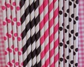 25 Hot pInk Black Striped Dots Paper Straws birthday party , wedding, bridal shower, event, cake pop sticks bonus diy straw flags