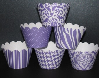 purple  white Standard Cupcake Wrappers Classic Collection mini