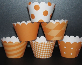 Orange Cupcake Wrappers Basic collection cupcake holder wrap