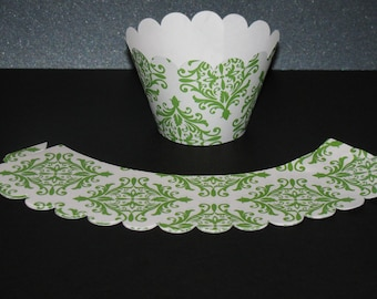 Green white Damask CUPCAKE WRAPPERS holder wrap