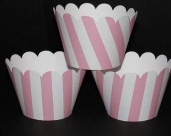 Striped lt. Pink white  Cupcake Wrappers holders wraps