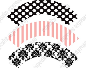 INSTANT DOWNLOAD diy Paris Birthday Party Collection PRINTABLE Cupcake Wrappers pink black damask stripes polka dots