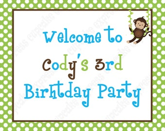 DIY Monkey Birthday Party  PRINTABLE Welcome Sign blue green brown BOY door sign