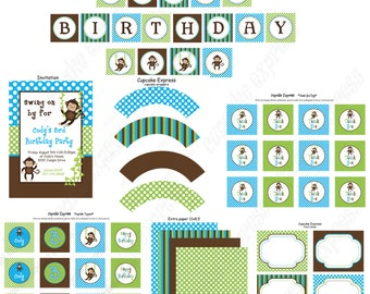 DIY Boy Monkey  Birthday Collection PRINTABLE Party Package  Banner Cupcake toppers Invitation more...