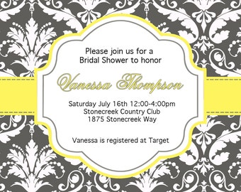 DIY  Bridal Shower 2 PRINTABLE Invitation 5x7 Grey Charcoal and white damask Yellow