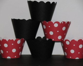 Minnie Mickey Mouse standard Black red polka dot solid Cupcake Wrappers holder wrap