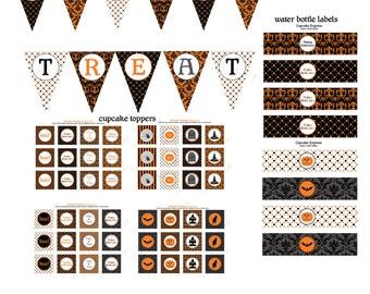 SALE 70% off Halloween Elegant  Printable Party Deluxe Package Instant Download DIY  cupcake toppers banner food labels bats pumpkins