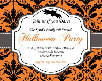 DIY Halloween Elegant Party  PRINTABLE Invitation 5x7 Orange black grey Need them PRINTED just ask..