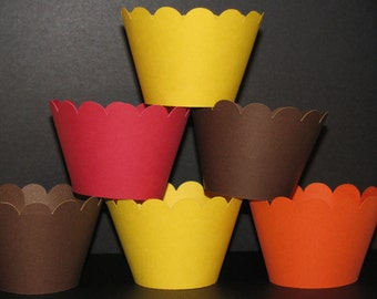 Thanksgiving Holiday  Solid Cupcake Wrappers cupcake holder  brown, orange, yellow red