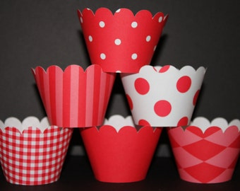 Red white  Cupcake Wrappers Basic collection holder wrap stripes polka dots argyle gingham