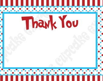 Dr. Seuss Inspired Thank You Card Birthday Party PRINTABLE  4x6 red blue thing 1 thing 2 INSTANT DOWNLOAD diy cat in the hat Cupcake Express