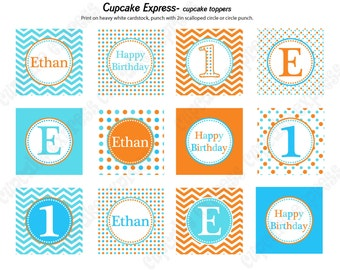 DIY  Orange Blue Aqua Birthday Party PRINTABLE Cupcake Toppers favor tags baby shower Chevron polka dots