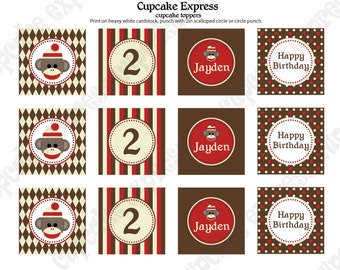 DIY Sock Monkey  Birthday Collection Printable party circles 2in Cupcake Toppers or we can PRINT them...
