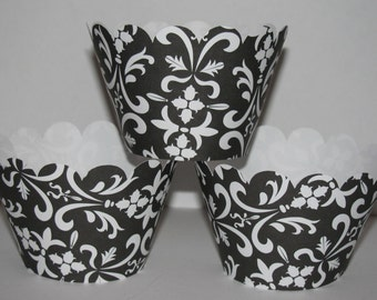Standard Black White Damask Standard Cupcake Wrappers , holders, wraps scalloped  - Cupcake Express