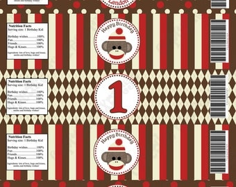 DIY Sock Monkey red brown Printable Party Water Bottle Labels wraps Personalized - Cupcake Express