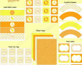 Sale 70% off DIY Baby Chick Collection PRINTABLE  Party Package  yellow orange  cupcake toppers  water bottle  food labels wrappers Easter