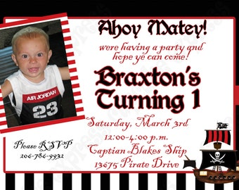 DIY Pirate Birthday Party  PRINTABLE Invitation 5x7 4x6 black white red black Photo