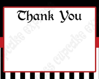 DIY PIRATE Birthday Party  PRINTABLE Thank You Card 4x6 Red Black white - Cupcake Express