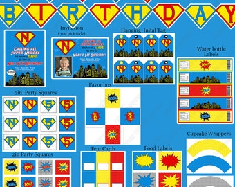 Super Hero Birthday Party  PRINTABLE Deluxe  Package Blue red yellow black  Banner Invitation DIY Party decorations  Masks
