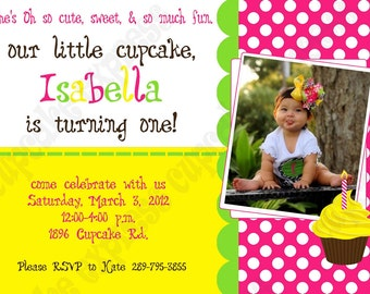 DIY Cupcake 3 Birthday Party  PRINTABLE Invitation 5x7 4x6 pink green yellow GIRL first 1st