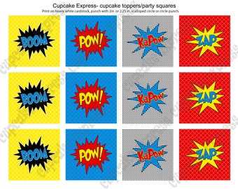 INSTANT DOWNLOAD diy Super Hero Birthday Printable Party Cupcake Toppers Tags blue red yellow pow boom zap