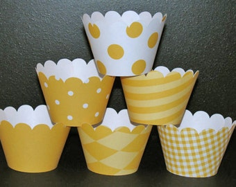 Yellow white Cupcake Wrappers Basic collection cupcake holder wrap