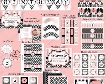 DIY Paris Birthday Collection PRINTABLE Party  Deluxe  Package  pink black