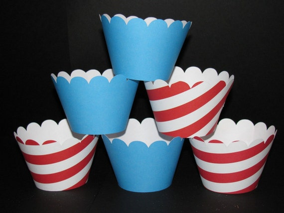 Dr. Seuss CUPCAKE WRAPPERS holder  Wraps red stripe blue  24 Birthday party baby shower  birthday party decorations
