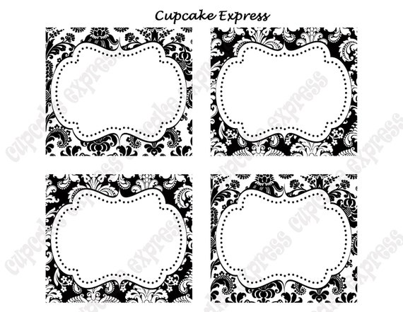 ... and White Damask PRINTABLE Party Labels Tags Display cards on Etsy