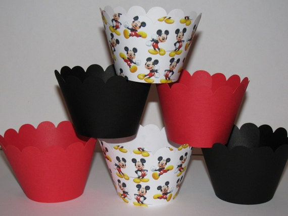 CUSTOM ORDER for destin95 T Mickey Mouse standard Cupcake Wrappers scalloped holder wrap Red Black White