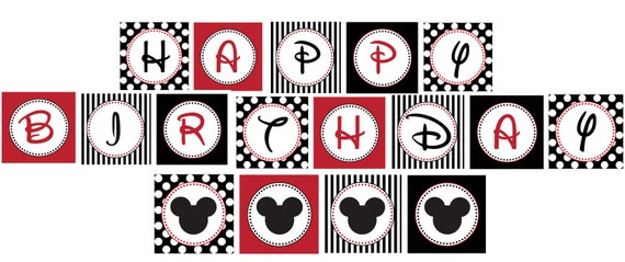 Diy Mickey Mouse Birthday Party Printable Banner Sign Red