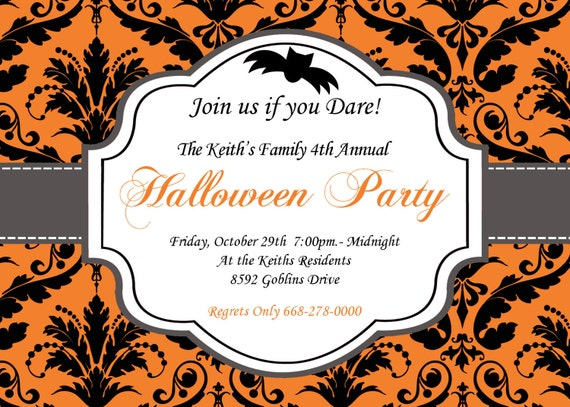 DIY Halloween Elegant Party  PRINTABLE Invitation 5x7 Orange black grey Need them PRINTED just ask..