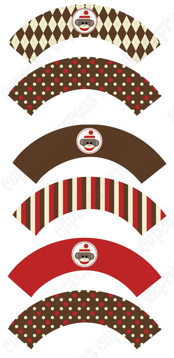 INSTANT DONWLOAD diy Sock Monkey Birthday Party PRINTABLE Cupcake Wrappers  brown cream red monkey  - Cupcake Express