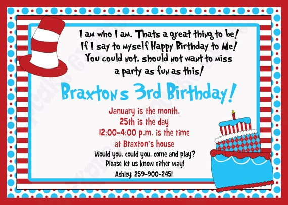 DIY Dr. Seuss Inspired  2 Birthday Printable Party Invitation red blue  stripes