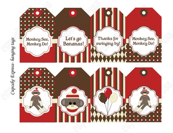 INSTAND DOWNLOAD diy Sock Monkey Birthday Printable Party Hanging Tags red brown cream gift tags quotes pictures  - Cupcake Express