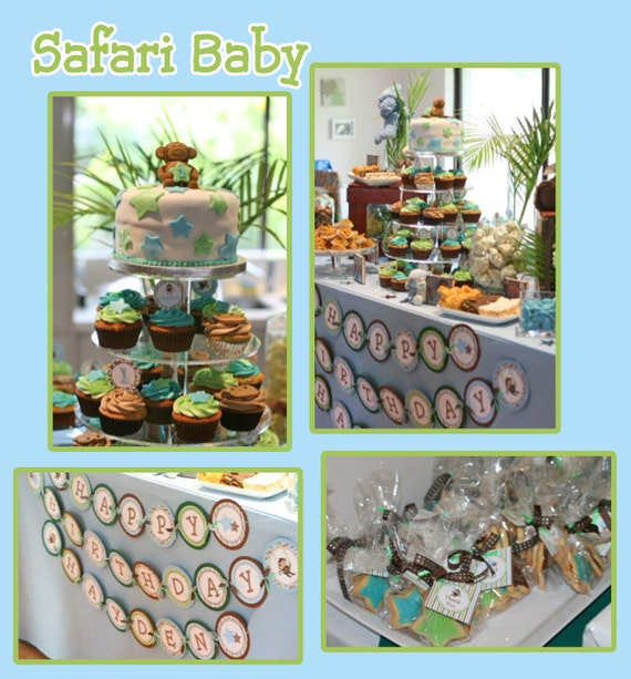 DIY Safari Birthday Collection Printable Birthday Party Package invitation labels cupcake toppers banner...