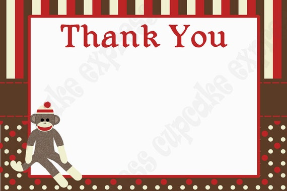 INSTANT DOWNLOAD diy Sock Monkey Birthday Party  PRINTABLE Thank You Card 4x6 red brown favors treats