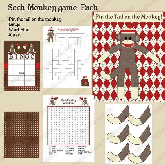 INSTANT DOWNLOAD  diy Sock Monkey  Birthday Party  PRINTABLE Game Pack  Bingo Maze Word Find Pin the tail on the monkey