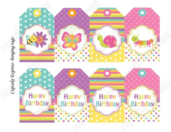 INSTANT DOWNLOAD diy Spring Bugs Birthday Printable Party Hanging Tags  Pink Purple yellow green gift tag  - Cupcake Express