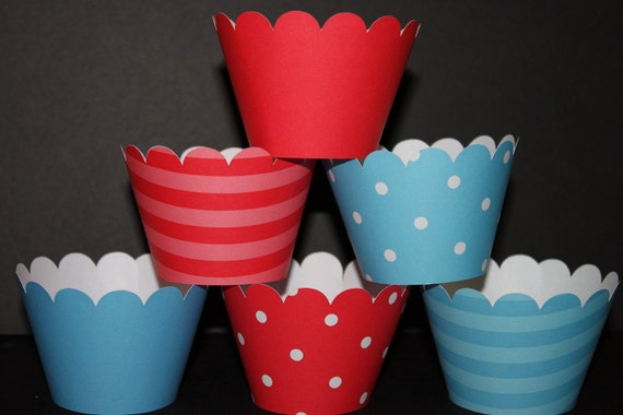 Blue Red Mix Cupcake Wrappers  holder wrap  Dr. Seuss thing 1 thing 2 polka dots stripes solids