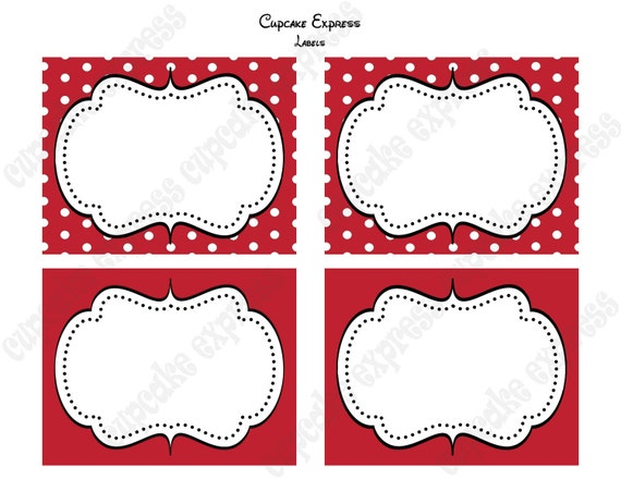 INSTANT DOWNLOAD diy Minnie Mouse Birthday Party  PRINTABLE Food Labels  Red display cards - Cupcake Express