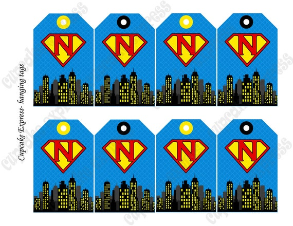 DIY Super Hero Birthday Printable Party hanging Initial tags blue red ...