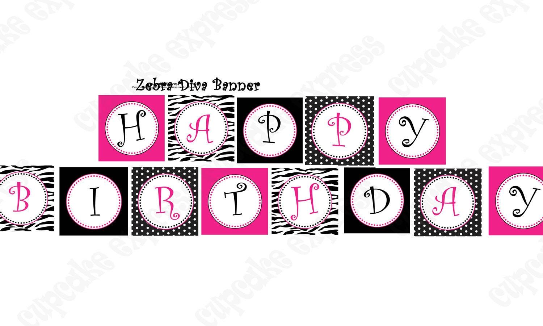 diva zebra birthday banner collection printable party