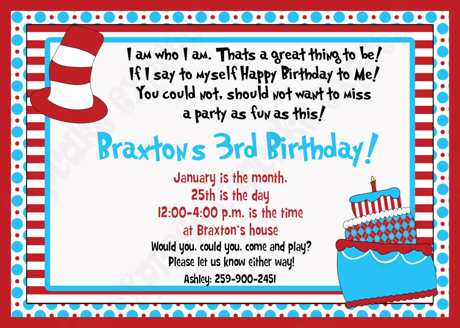 diy dr seuss inspired  birthday printable party invitation, party invitations