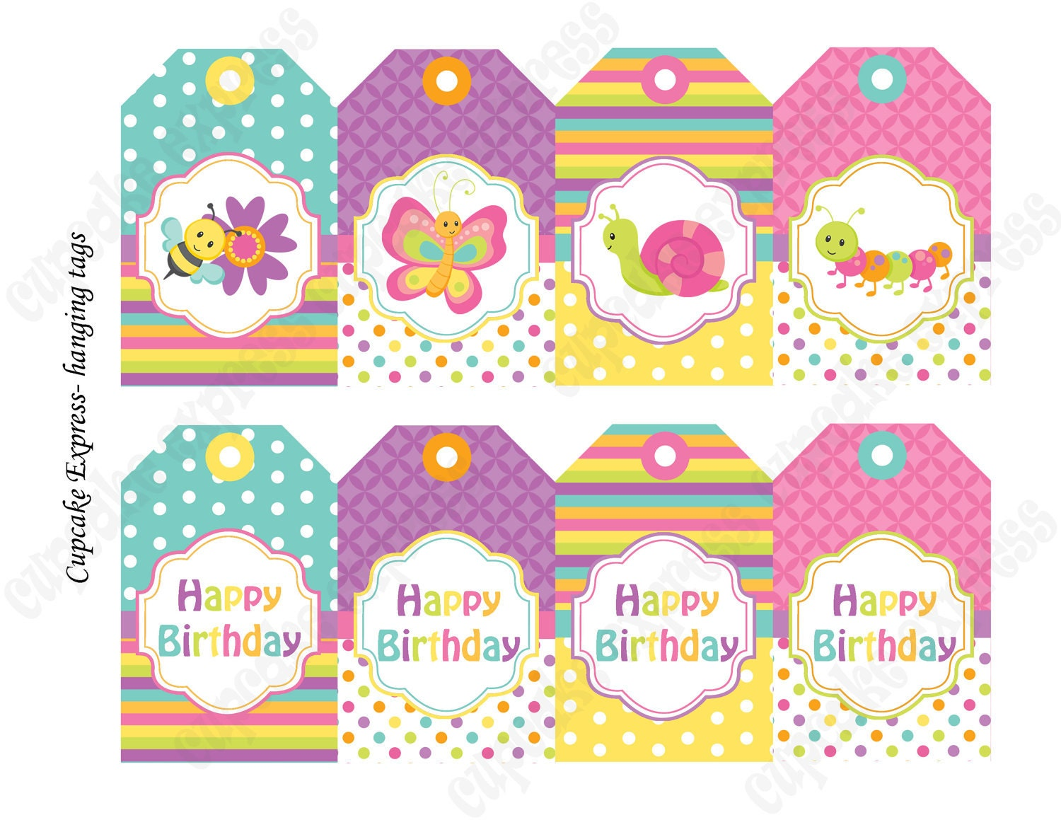 INSTANT DOWNLOAD diy Spring Bugs Birthday by CupcakeExpress