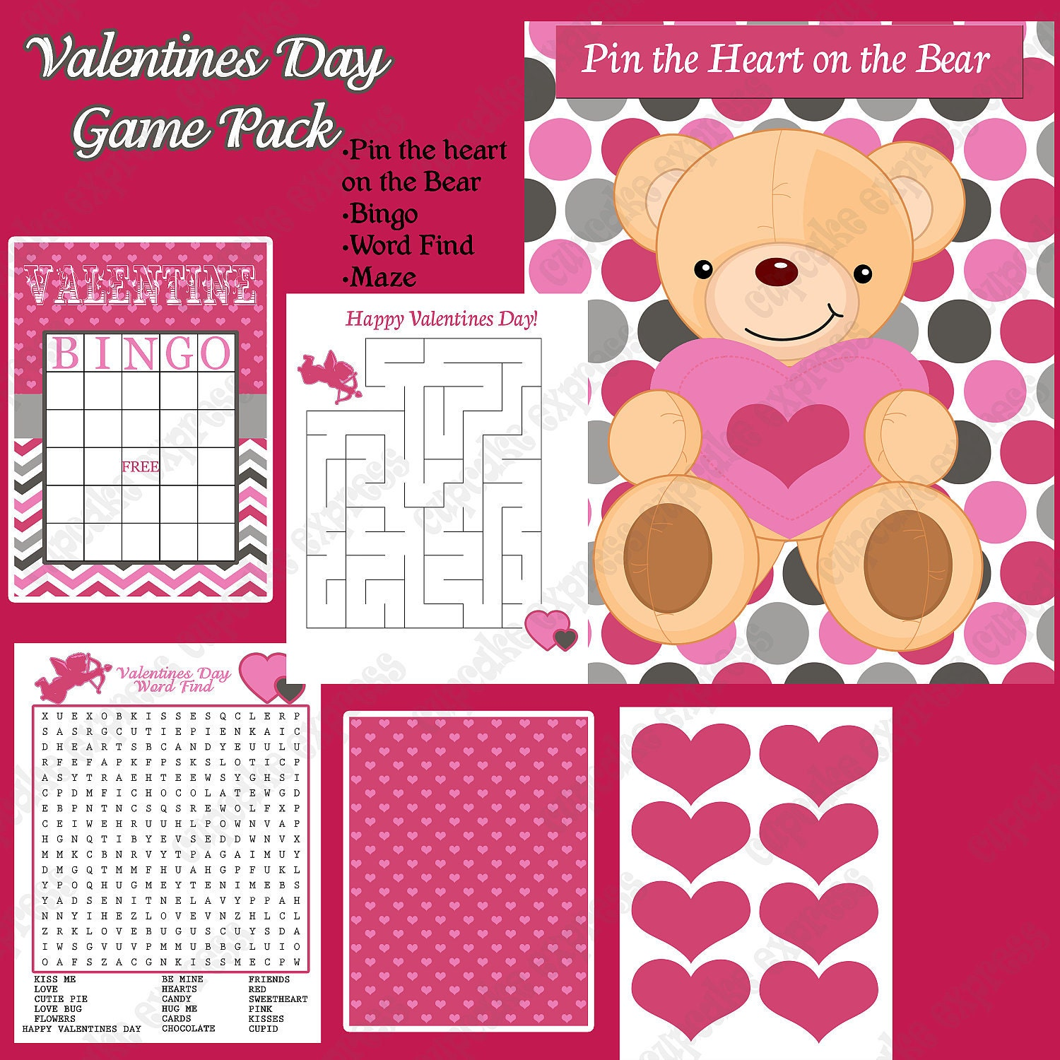 Sale Sale 50% Off DIY Mod Valentines Day Party PRINTABLE