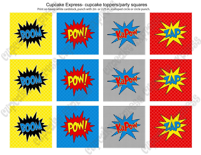 Super Hero Party Super hero Cupcake toppers Super hero Tags
